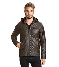 Excelled Men's Faux Leather Hooded Hipster Jacket