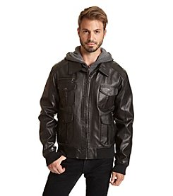 Excelled Men's Leather-Look Bomber Jacket