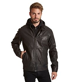 Excelled Men's Faux Leather Jacket with Quilted Detail