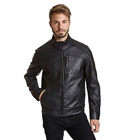 Excelled Men's Quilted Faux Leather Jacket