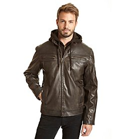 Excelled Men's Hooded Faux Leather Jacket