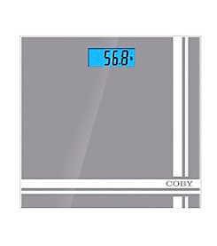 Coby® Grey Printed Digital Glass Bathroom Scale with LCD Display
