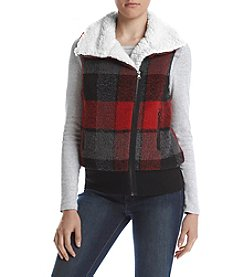 Sequin Hearts® Plaid Faux Sherpa Vest