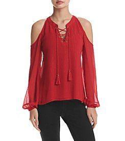 Sequin Hearts® Lace Up Cold Shoulder Top