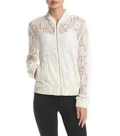 Sequin Hearts® Crochet Bomber Jacket