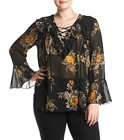 Skylar & Jade™ Plus Size Lace Up Top
