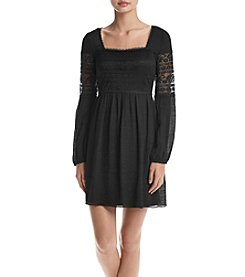 A. Byer Lace Gauze Sheath Dress
