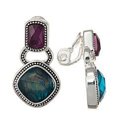 Napier® Multicolored Stone Clip Earrings