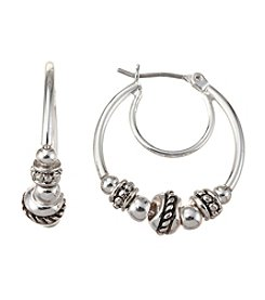 Napier® Textured Bead Large Hoop Earrings