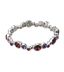 Napier® Silvertone and Purple Stone Stretch Bracelet