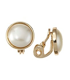 Napier® Pearl Circle Button Clip Earrings