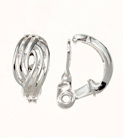 Napier® Silvertone Crossover Clip Earrings