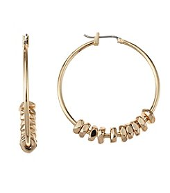 Napier® Large Beaded Hoop Earrings