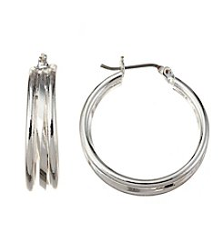 Napier® Silvertone Layered Hoop Earrings