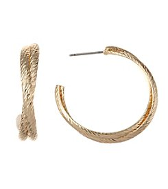 Napier® Goldtone Textured Hoop Earrings