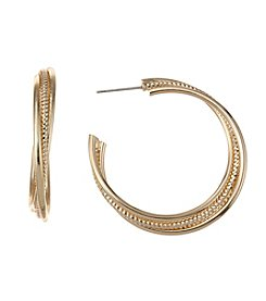 Napier® Goldtone Large Twisted Hoop Earrings