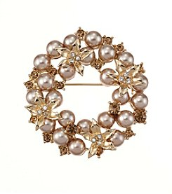 Napier® Boxed Floral Wreath Pin