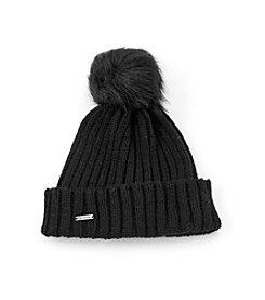 Calvin Klein Faux Fur Pom Beanie Hat