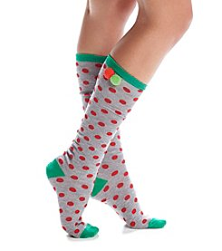Legale® Polka Dot Pom Knee High Socks