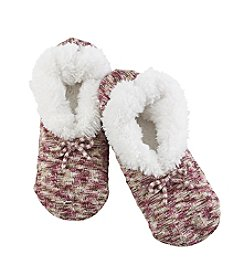 Fuzzy Babba® Teddy Fur Spacedye Cable Knit Slippers