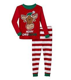 Komar Kids® Boys' 2T-4T 2-Piece Merry Chrismoose Pajama Set