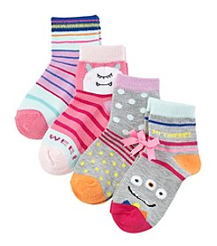 Miss Attitude Girls' 4-Pack Monster Crew Socks