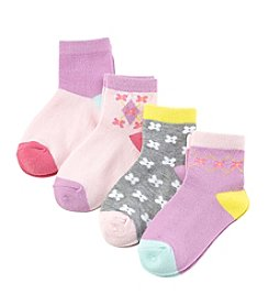 Miss Attitude Girls' 4-Pack Flowers Crew Socks