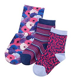 Miss Attitude Girls' 3-Pack Floral Crew Socks
