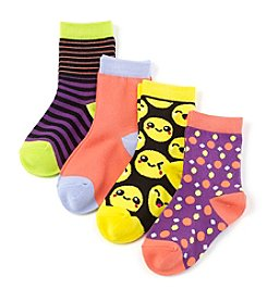 Miss Attitude Girls' 4-Pack Sweet Emoji Crew Socks