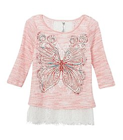 Beautees Girls' 7-16 Butterfly Top