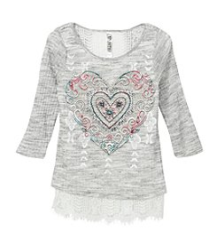 Beautees Girls' 7-16 Heart Top