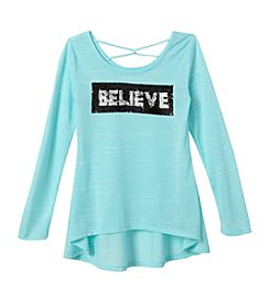 Beautees Girls' 7-16 Believe Sequin Top