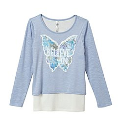 Beautees Girls' 7-16 Butterfly Sequin Top