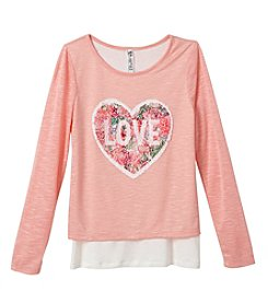 Beautees Girls' 7-16 Love Sequin Top