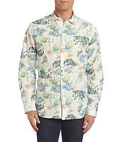 Paradise Collection® Men's Long Sleeve Button Down Printed Linen Shirt