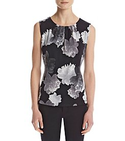 Calvin Klein Floral Print Pleat Neck Cami