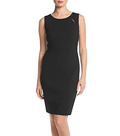 Kasper® Solid Jewel Neck Dress