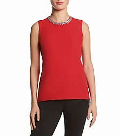 Calvin Klein Shell Embellished Sleeveless Blouse