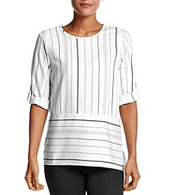 Calvin Klein Striped Roll Tab Sleeve Blouse
