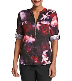 Calvin Klein Floral Print Rolled Sleeve Knit Top
