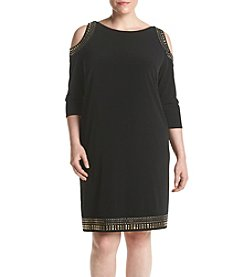 Jessica Howard® Plus Size Cold Shoulder Shift Dress