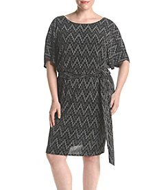 S.L. Fashions Plus Size Glitter Blouson Dress