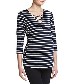 Three Seasons Maternity™ Criss Cross Stripe Top