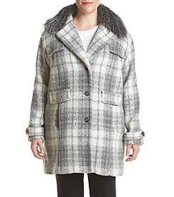 Jones New York® Plus Size Plaid Faux Fur Collar Coat