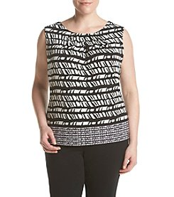Calvin Klein Plus Size Chevron Pleatneck Top