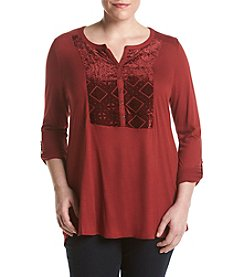 Lucky Brand® Plus Size Burnout Velvet Bib Top