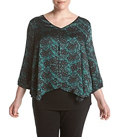 AGB Plus Size Split Front Printed Top