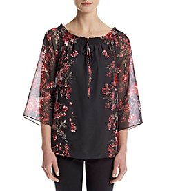 AGB® Floral Print Woven Top
