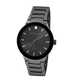 Geoffrey Beene Gunmetal Tone Black Dial Diamond Accent Watch