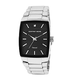 Geoffrey Beene Silvertone Rectangular Diamond Accent Watch